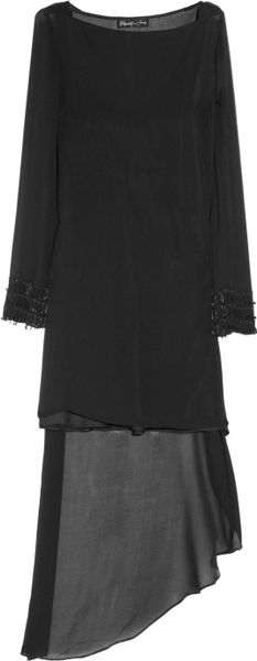 Elizabeth And James Claudia Asymmetric Silkchiffon Dress in Black - Lyst