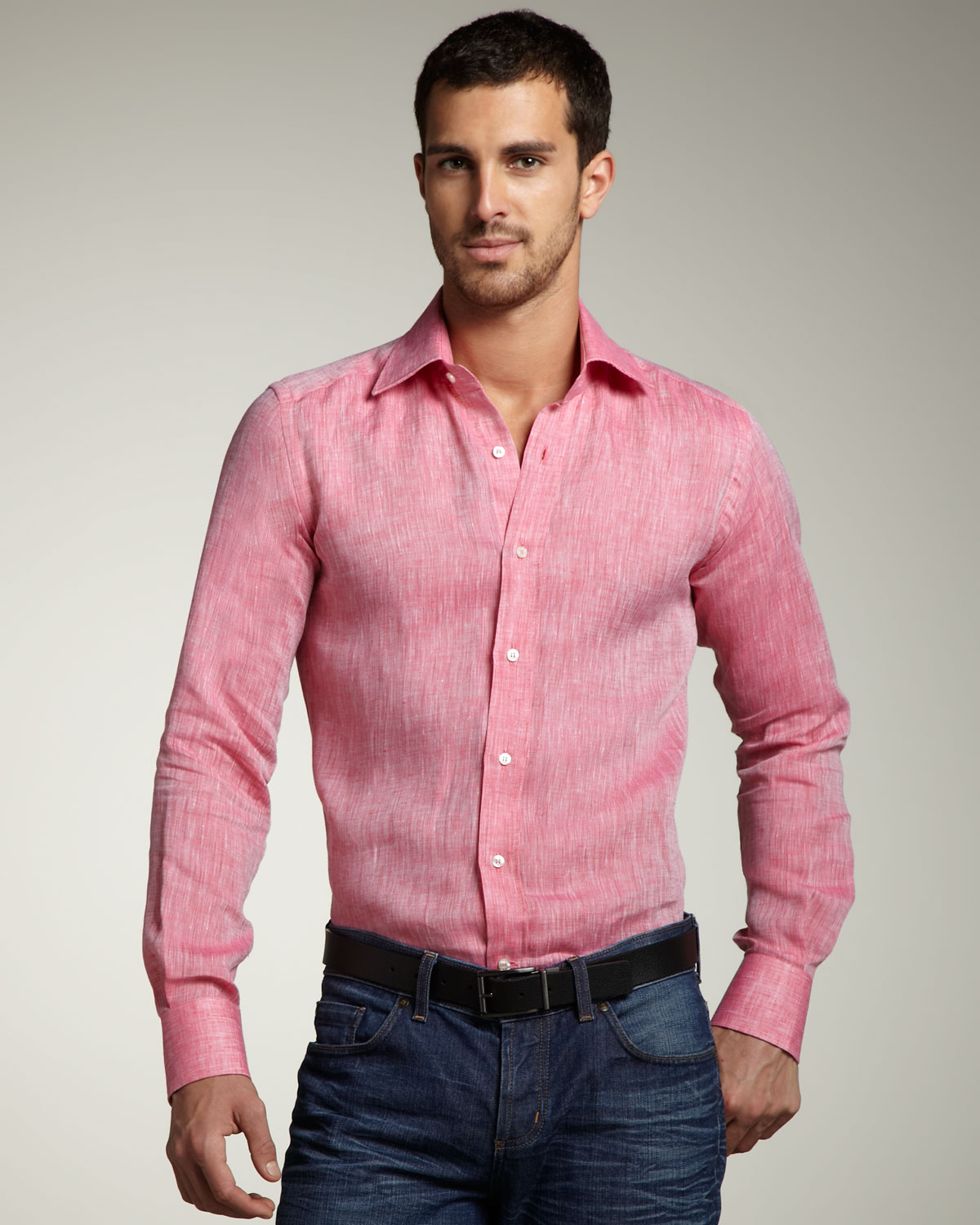 Lyst - Etro Linen Sport Shirt in Pink for Men