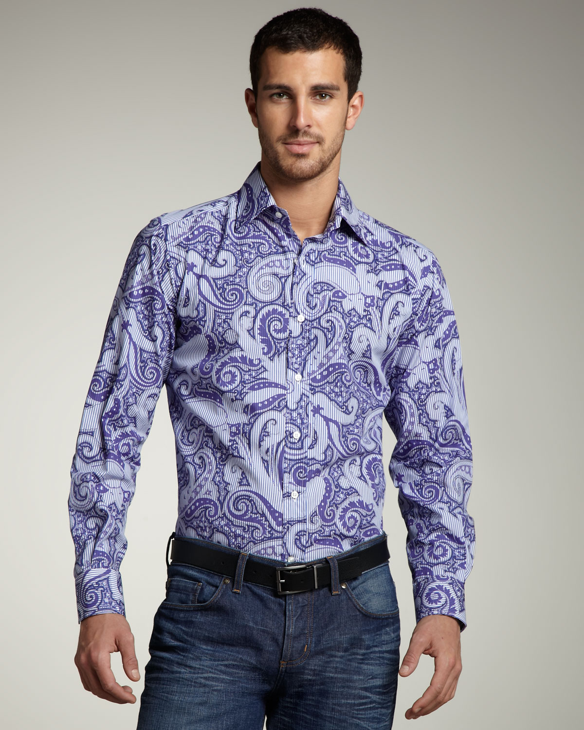 etro paisley print shirt in purple for men lyst