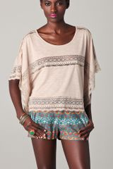 Free People Lace Inset Cropped Tee - Lyst