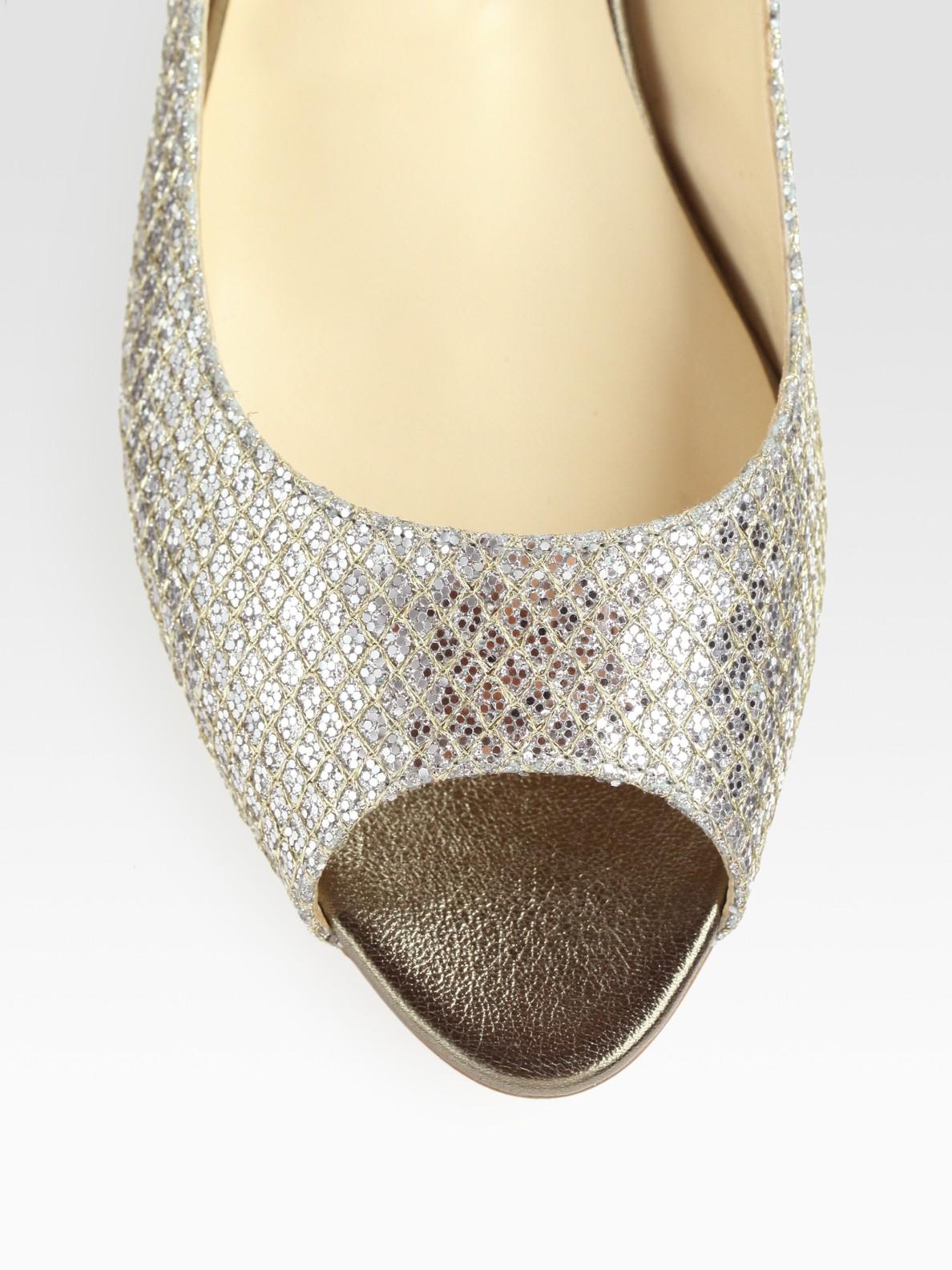 dc5c7ebfcff Lyst - Jimmy Choo Beck Glitter-coated Metallic Leather Peep Toe ...