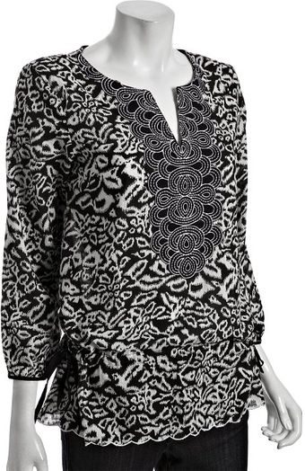 Kas Black Printed Cotton Torri Embroidered Tunic - Lyst