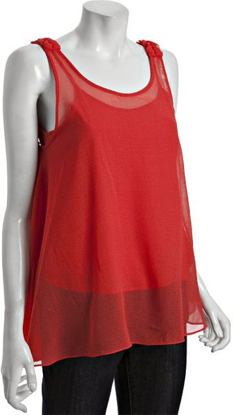 Kas Coral Chiffon Chloe Braid Trim Sleeveless Tank - Lyst