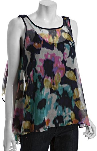 Kas Navy Watercolor Print Chiffon Chloe Braid Trim Sleeveless Tank - Lyst