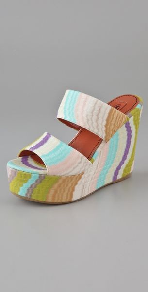 Missoni 2 Band Platform Slides in Multicolor (aqua) - Lyst