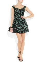 Miu Miu Printed Silkfaille Mini Dress in Black - Lyst