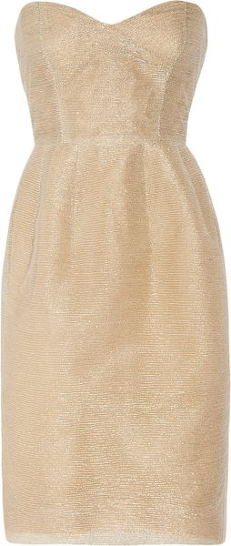 Oscar de la Renta Tulle and Gold Threaded Strapless Dress - Lyst
