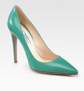 Prada Capretto Leather Point Toe Pumps - Lyst