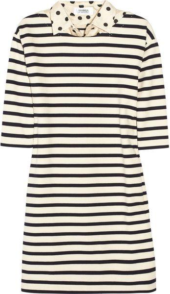 Sonia By Sonia Rykiel Striped Cotton Dress in Beige