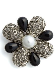 St. John Collection Faux Pearl & Beaded Broach - Lyst