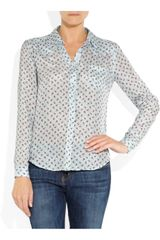 Textile Elizabeth And James Austin RosePrint Silk Shirt in Blue (rose) - Lyst