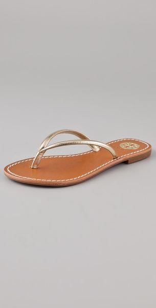 8544a249b Tory Burch Gold Flip Flops ~ Gold Sandals