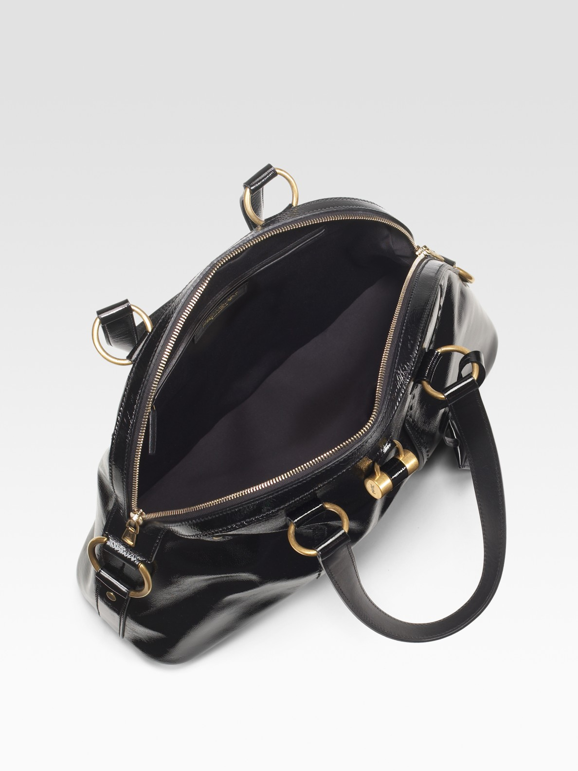 Saint laurent Patent Leather Muse Bag in Black | Lyst