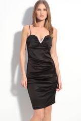 Betsy & Adam Embellished Stretch Satin Strapless Dress - Lyst