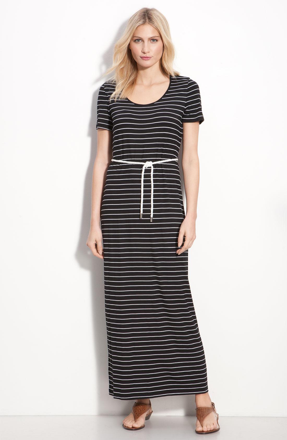 Calvin Klein Stripe Cap Sleeve Maxi Dress In Black Black