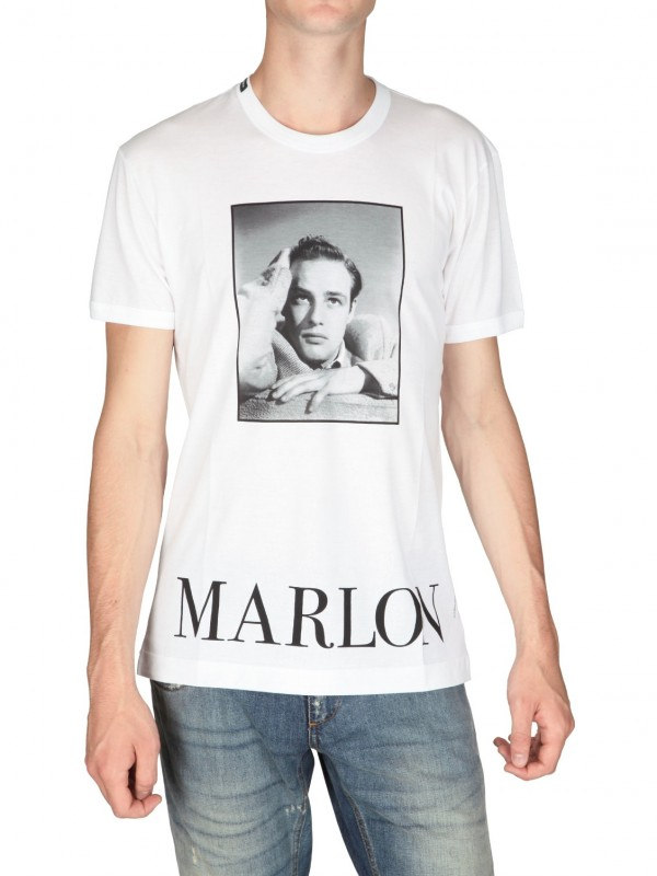 600056de933 Lyst - Dolce   Gabbana Marlon Brando Print Jersey T-shirt in White ...