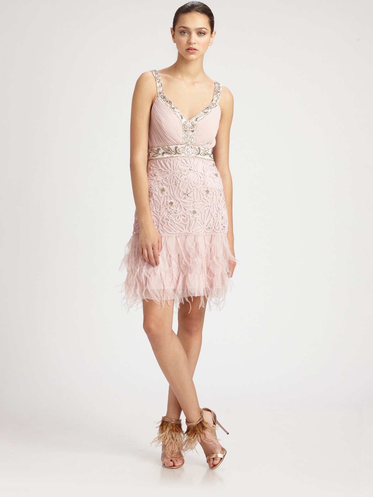 sue wong beaded feather dress in pink lyst