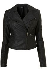 Topshop Quilted Panel Pu Biker