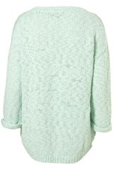 Topshop Knitted O Motif Jumper in Green (mint) - Lyst