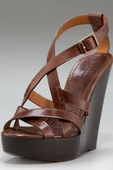 Burberry Strappy Platform Wedge - Lyst