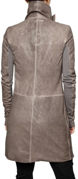 Rick Owens Long Biker Leather Jacket in Brown - Lyst