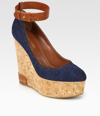 Sergio Rossi Denim and Leather Wedge Sandals - Lyst