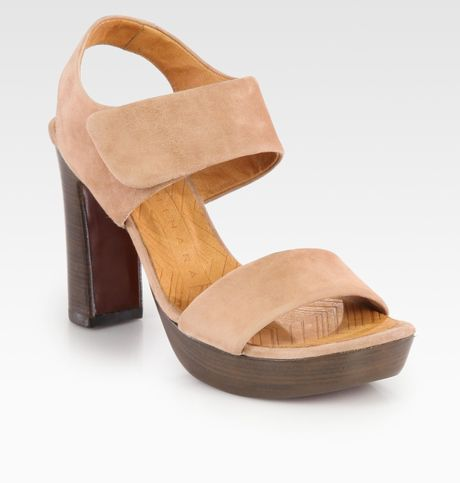 Chie Mihara Cody Suede Slingback Platform Sandals in Brown (green) - Lyst