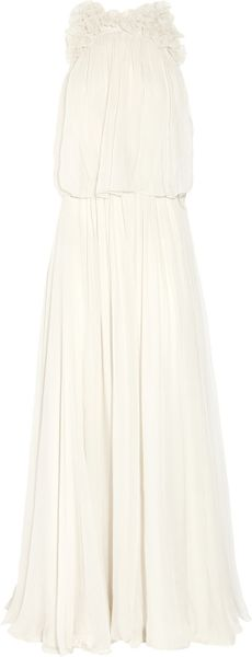Chloé Flower-appliquéd Silk-mousseline Gown - Lyst