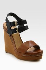 Chloé Two-tone Leather Slingback Wedge Sandals