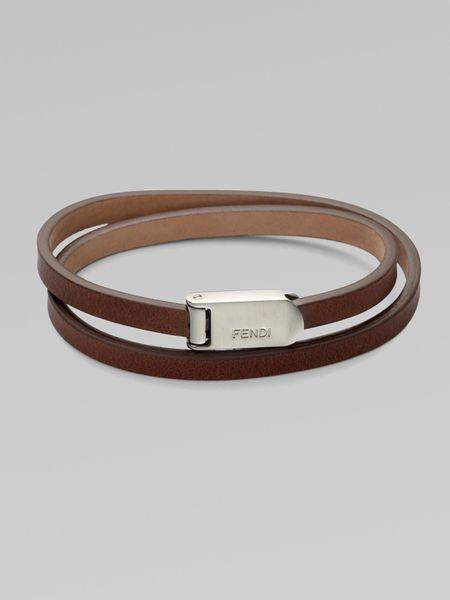 Fendi Wrap Around Leather Bracelet In Brown For Men