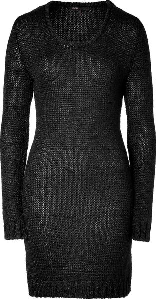 Maje  Crew Neck Knitted Long Sweater in Black - Lyst