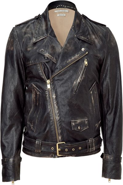 Marc Jacobs Black Distressed Moto Jacket in Black for Men - Lyst