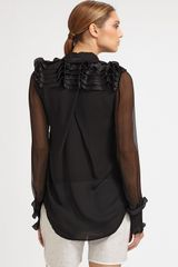 Prabal Gurung Ruffled Silk Blouse in Black - Lyst