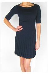 See By Chloé Ribbed Sweater Dress with Pleated Skirt in Navy - Lyst