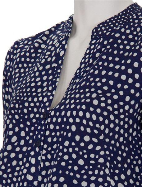 Dark Blue Polka Dot Shirt Blue Navy Tibi Polka Dot