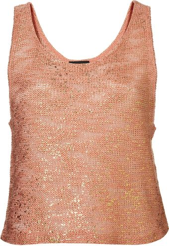 Topshop Foil Textured Drop Back Vest - Lyst
