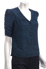 Dv By Dolce Vita Teal Leopard Print Arlene Shirred Sleeve Button Front Blouse - Lyst