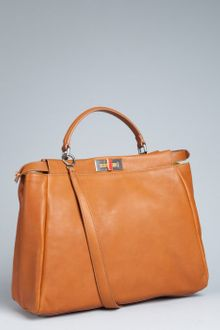 Fendi Cigar Calf Leather Peekaboo Satchel - Lyst