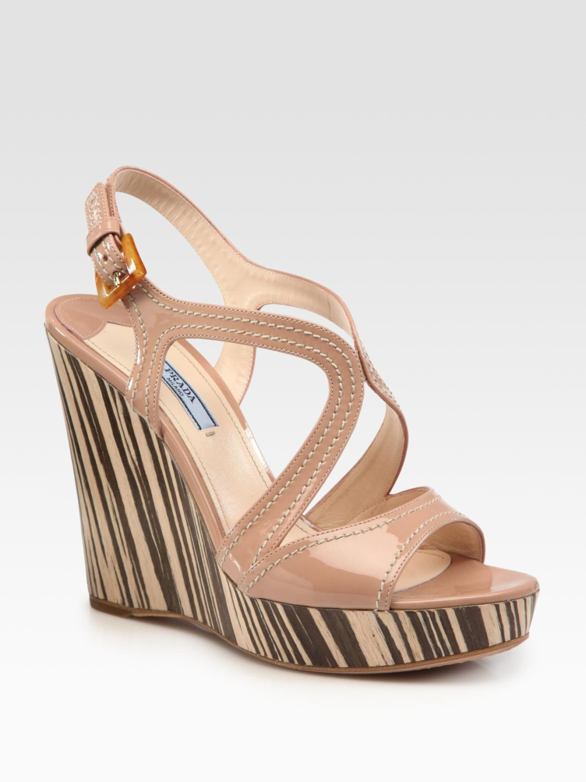6d0c271a3bb Lyst - Prada Patent Leather and Wood Multistrap Wedge Sandals in Pink