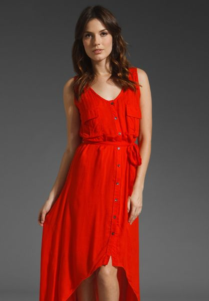 Testament Cargo Tank Dress with Belt in Red (coral) - Lyst