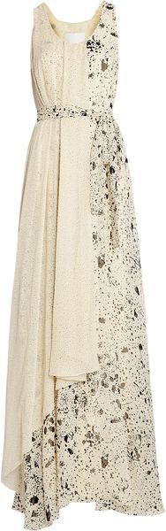 3.1 Phillip Lim Splatter Print Maxi Self Belt Gown in Beige (cream)