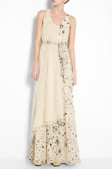3.1 Phillip Lim Splatter Print Maxi Self Belt Gown in Beige (cream) - Lyst