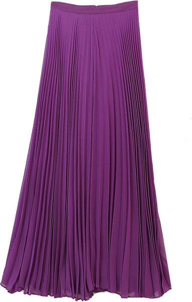 Alice + Olivia Shannon Pleated Maxi Skirt Purple in Purple - Lyst