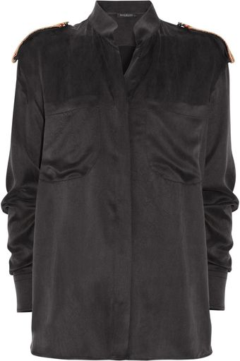 Balmain Silk-satin Shirt - Lyst