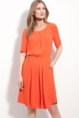 BCBGMAXAZRIA Pleat Front Chiffon Dress - Lyst