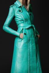 Burberry Prorsum Brogue Leather Trench Coat in Blue (malachite) - Lyst