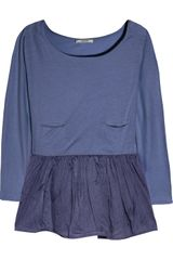 Carven Cotton-jersey and Organza Peplum Top