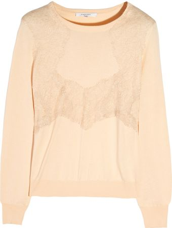 Carven Lace-trimmed Knitted Sweater - Lyst