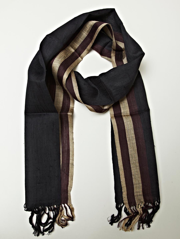 dries noten mens sheer silk artisan scarf in brown for