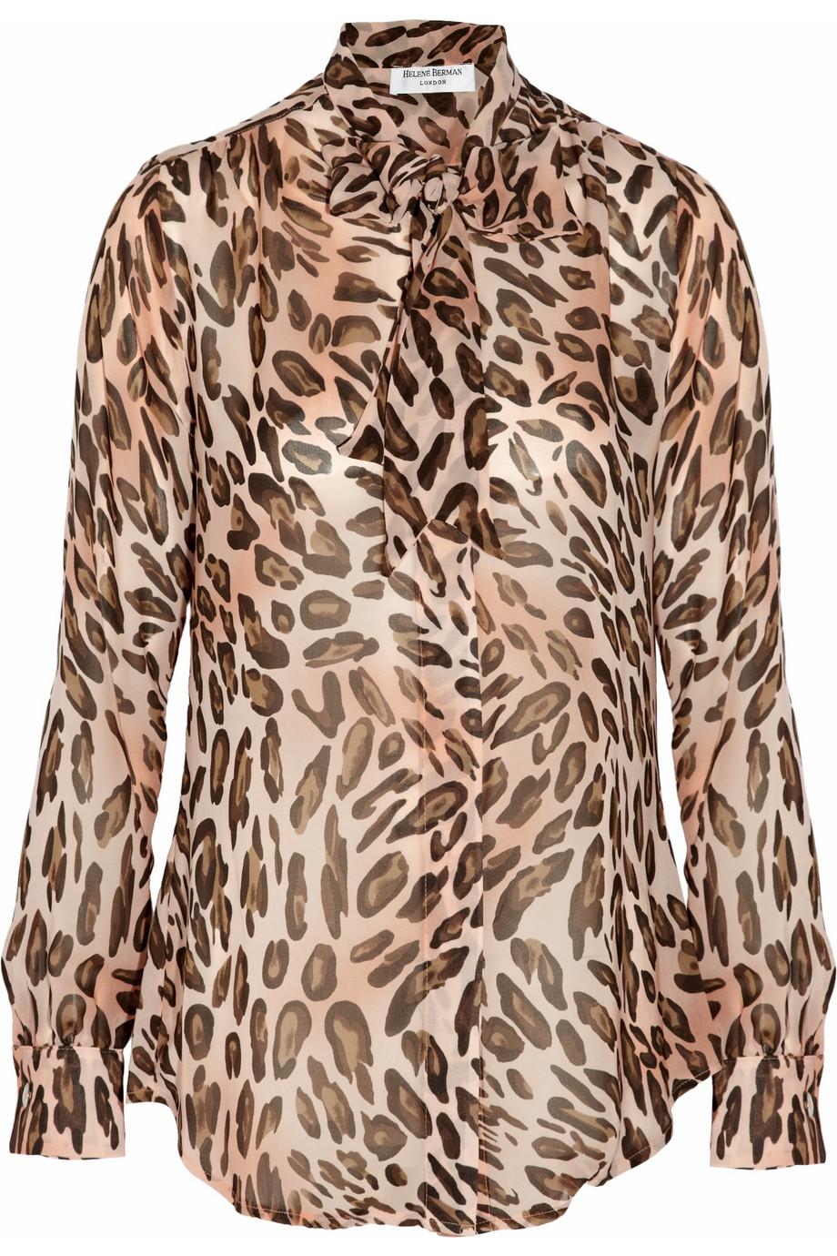 af9c68bfb138 Lyst - Helene Berman Leopard-print Chiffon Blouse